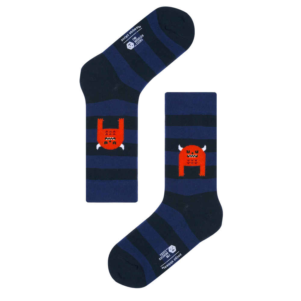 socks appeal X SML, sleeping monster navy stripe