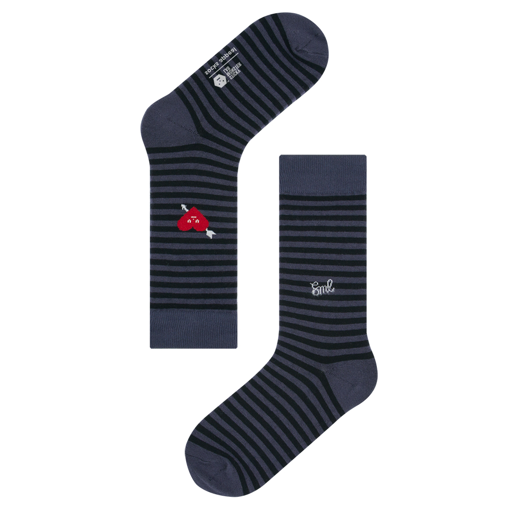socksappeal SML, heart navy stripe
